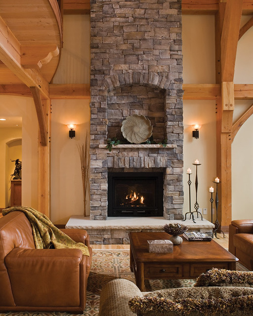 Timber Treasure Timber Frame Home - Fireplace | The ...