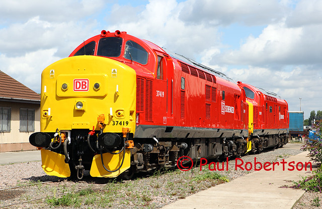 37419 Amp 37670 In Db Schenker Livery Gleaming Outside The