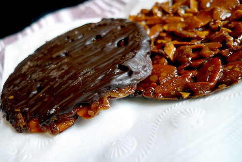 chocolate-covered florentines | by David Lebovitz