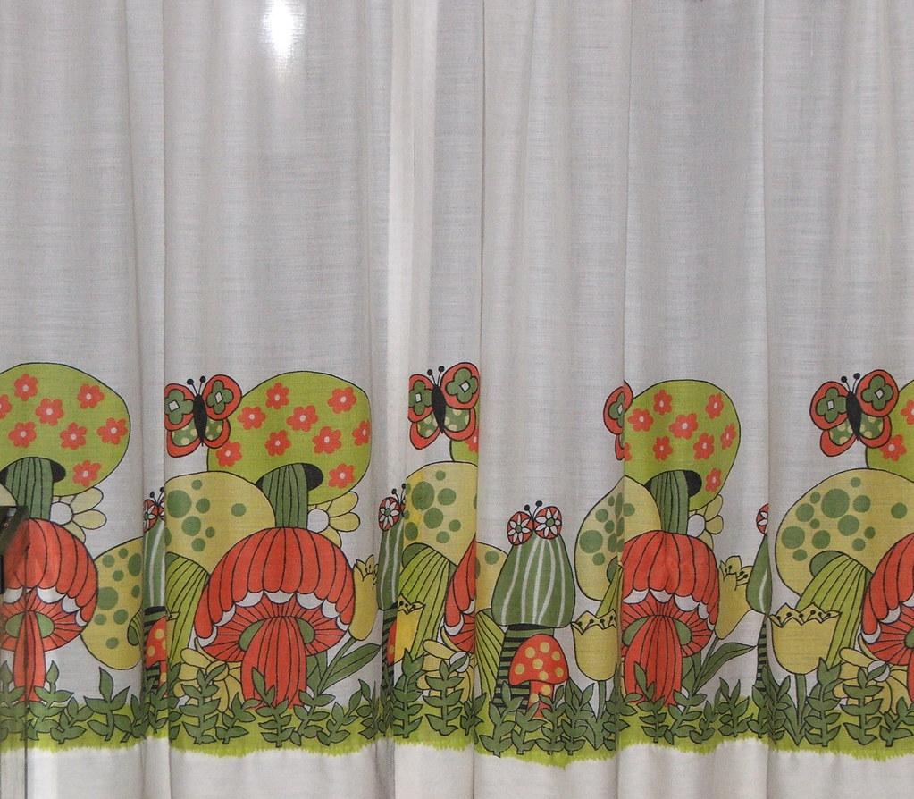 White Vintage Kitchen Curtains: Vintage Merry Mushroom Curtains