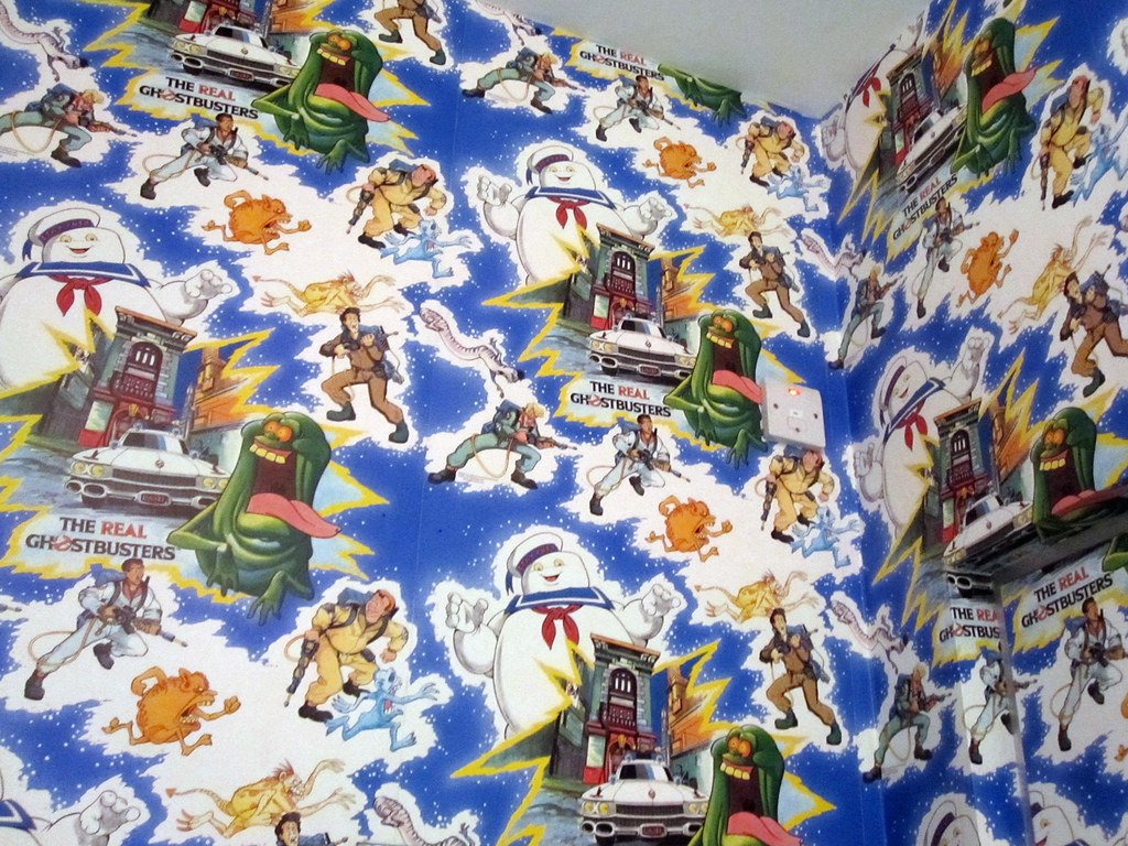 The real ghostbusters wallpaper bathroom cubical at the - Ghostbusters wallpaper ...