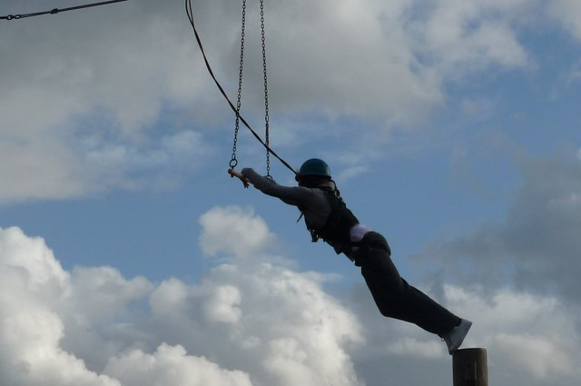 Bound to pole with rope was
