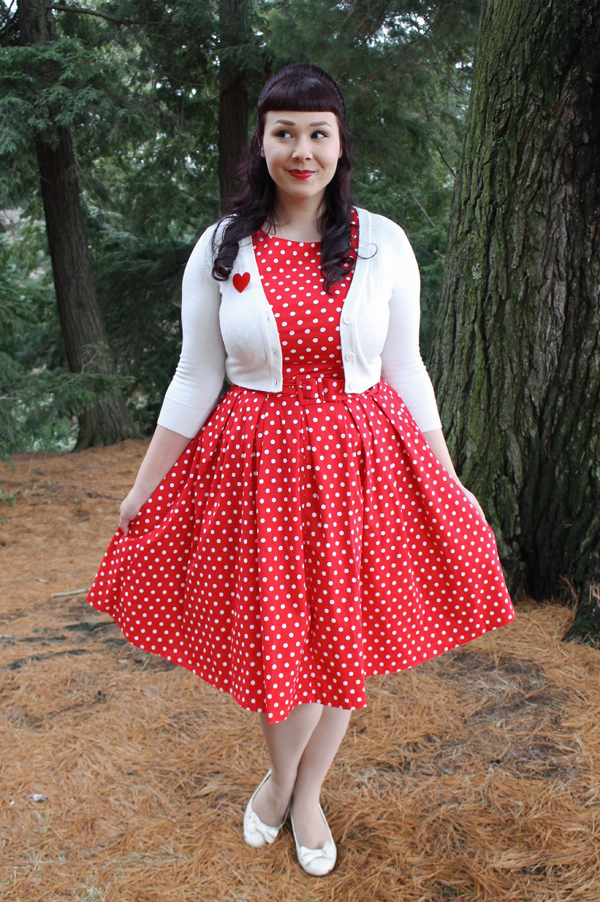 red polka dot dress retro