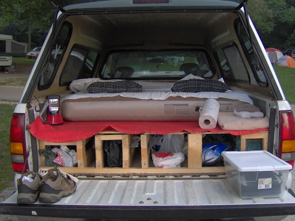 Truck Camping A Plywood Platform And A Queen Sized Air