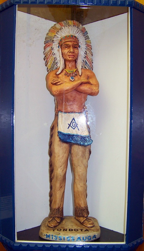 Indian Statue With Masonic Apron Inscription To The Left