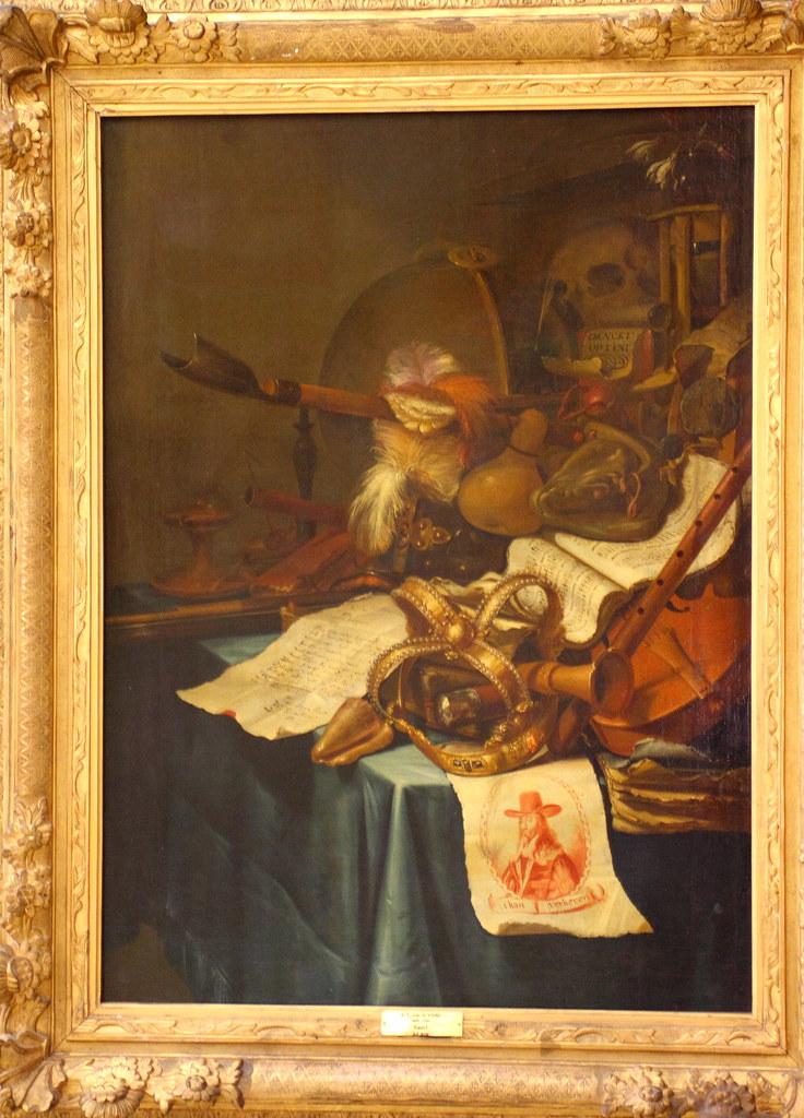 Vincent Laurensz. van de VINNE, Vanité avec une couronne royale et le portrait de Charles Ier roi d'Angleterre, décapité en 1649