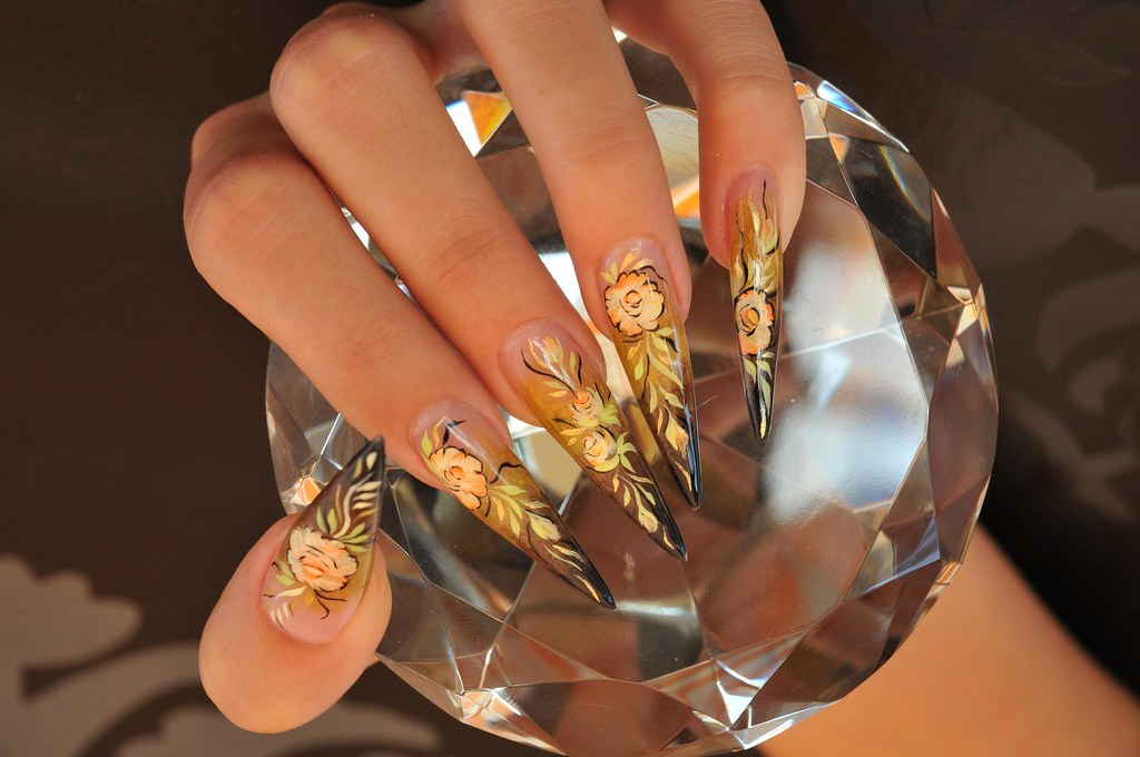 Gold Nail Art Design With Rose 11 Gold Nail Art Design Wit Flickr