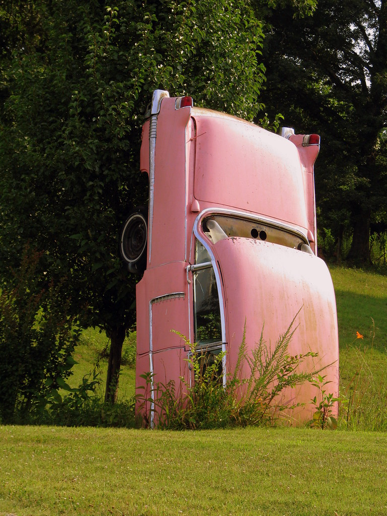 Cadillac Ranch Nashville Tn Half of a pink Cadillac | Now, there's something you don't s ...