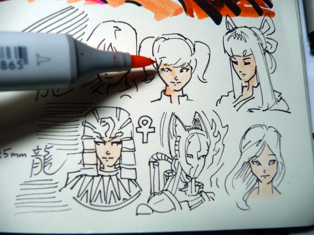 ... Copic Multiliner SP black pens sketching samples colored with Copic  Sketch Markers b | by betolung