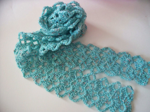 Crochet Scarf from Vintage Lace Pattern Purchased scarf ...