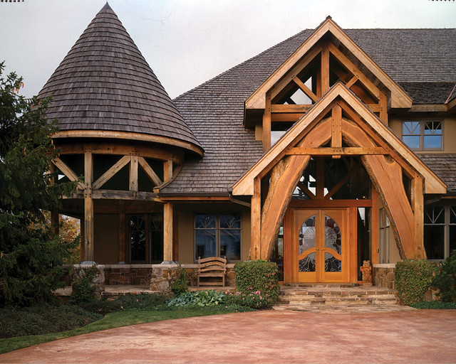 Four Suns Timber Frame Home Front Entry The Arched