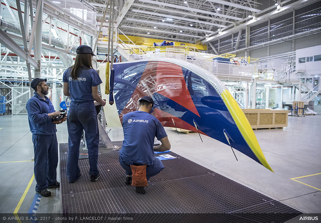 An A350 gets its winglets