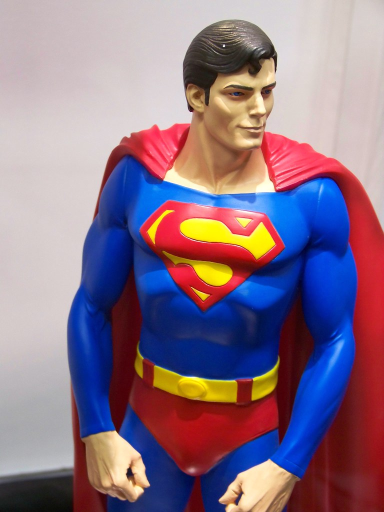 christopher reeve superman statue at the dc booth at san d