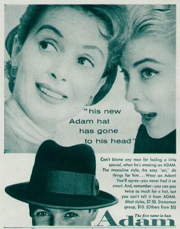 Adam Hats ad 1955  100377996d8