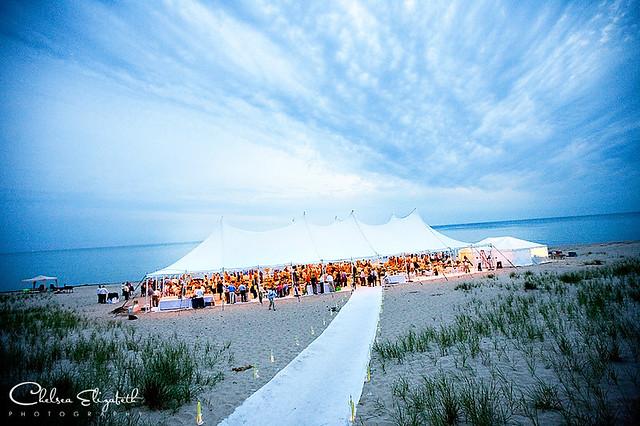 Lake Michigan Wedding Reception Tent At Dusk Chelsea Elizabeth