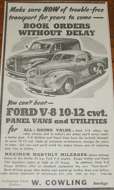 1941 ford v8 coupe ute panel van ad rare 1941 ford v8 for Ford motor company news headlines