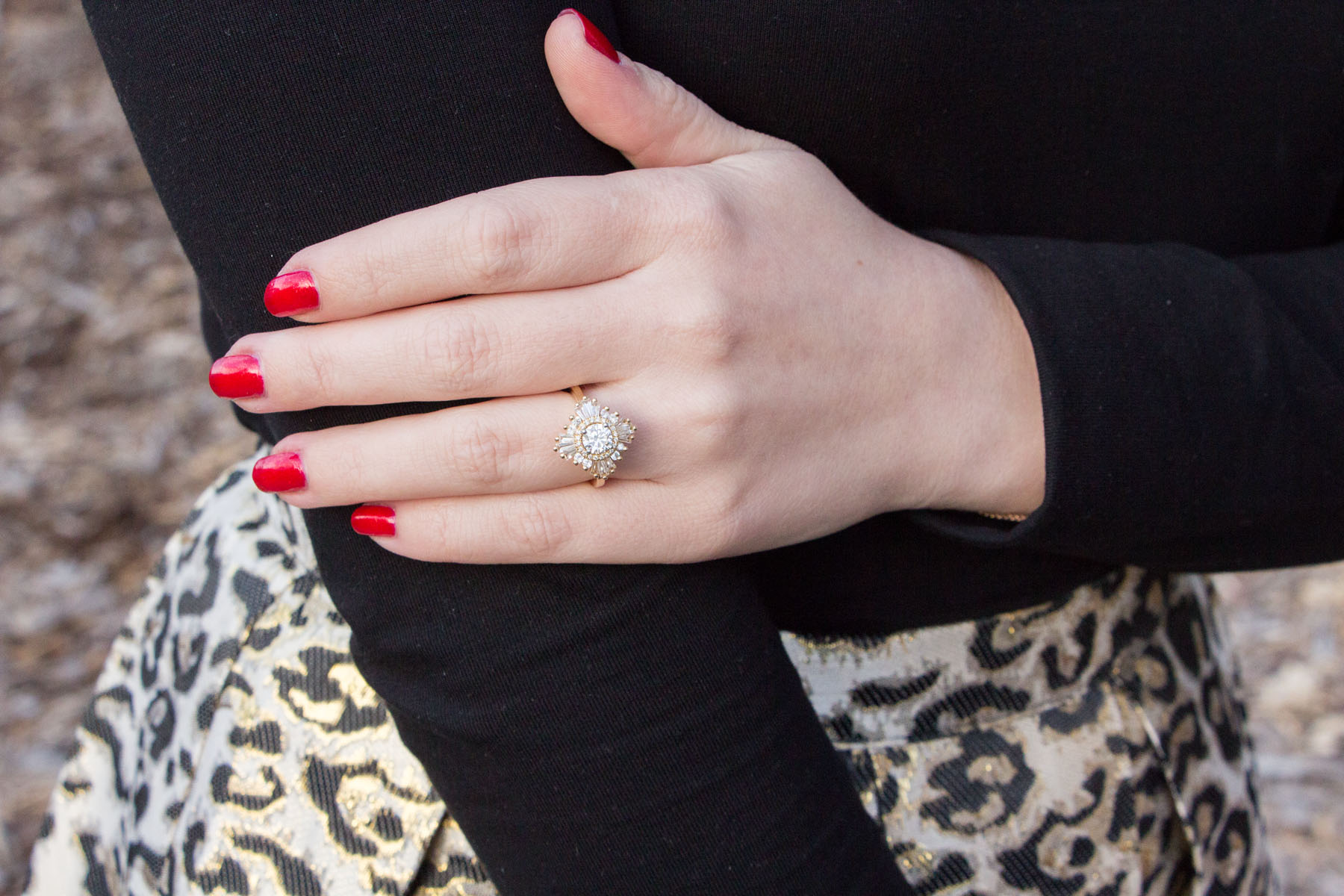 Heidi Gibson Mid Size Gatsby Ring in Gold with Red Nails and Leopard Skirt