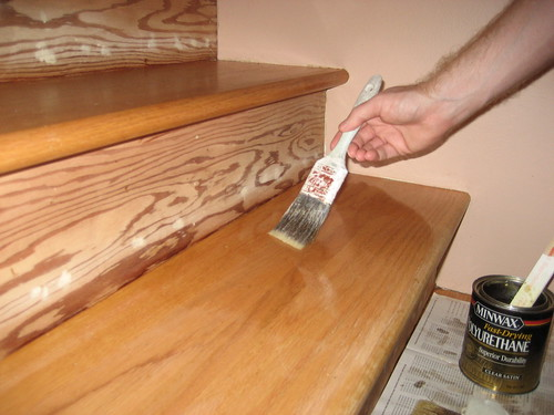 07 02 09 the third and last coat of varnish on the stairs jcbonbon flickr. Black Bedroom Furniture Sets. Home Design Ideas