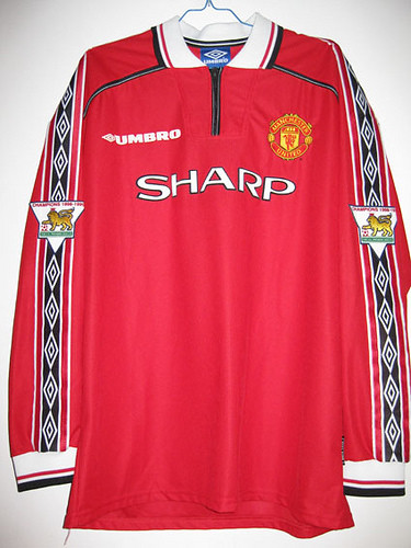Manchester united home 98 99 epl beckham 7 home shirt for Epl table 98 99