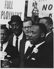 Civil Rights March on Washington, D.C. [Dr. Martin Luther King, Jr., President of the Southern Christian Leadership Conference, and Mathew Ahmann, Executive Director of the National Catholic Conference for Interrracial Justice, in a crowd.], 08/28/1963 | by The U.S. National Archives