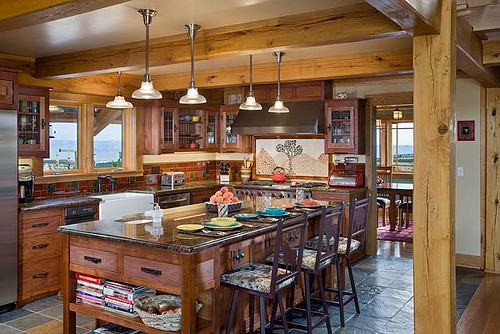 Distinct Western Elegance Timber Frame Home Kitchen Flickr