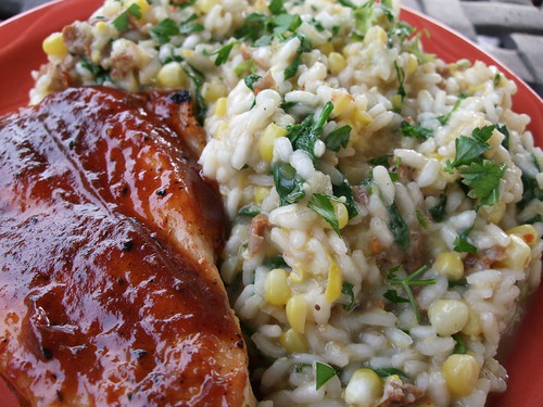 BBQ Chicken Breast and Risotto with Corn, Spicy Sausage and Wilted Arugula | by swampkitty