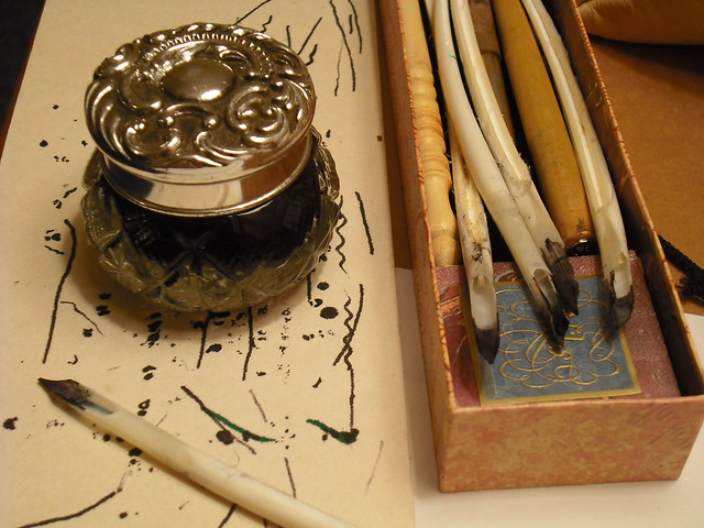 ink jar and quills (image by Charles Stanford)