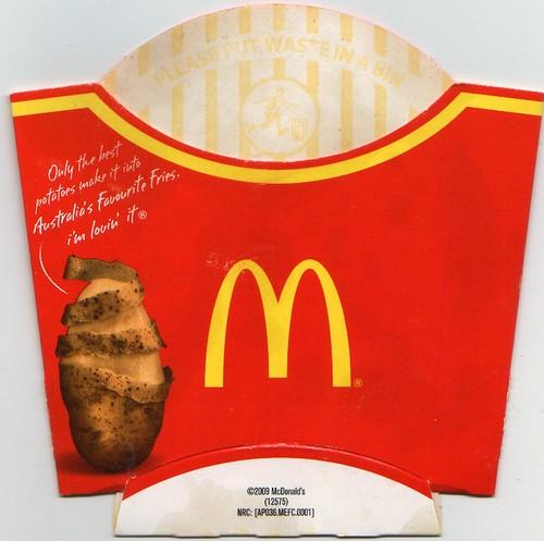 Mcdonalds french fries box 2009 mcdonald s australia