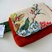 red floral barkcloth wristlet