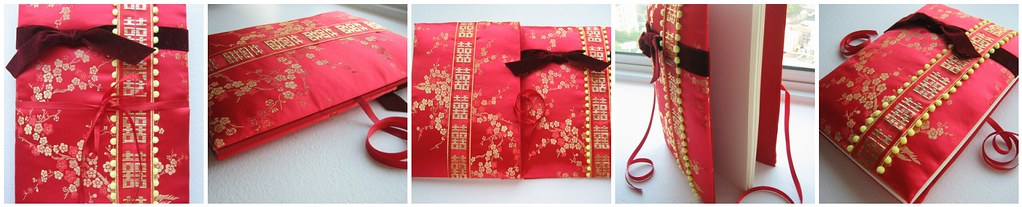 Fabric Cover Guest Book ~ Wedding guest book oriental themed fabric cover