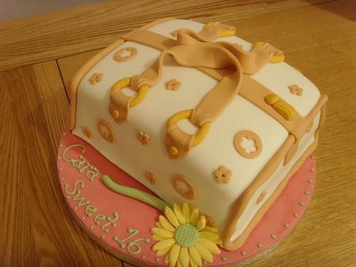 Birthday Cake Ideas With Sweets : Sweet 16 handbag cake Handbag birthday cake with gerbera ...