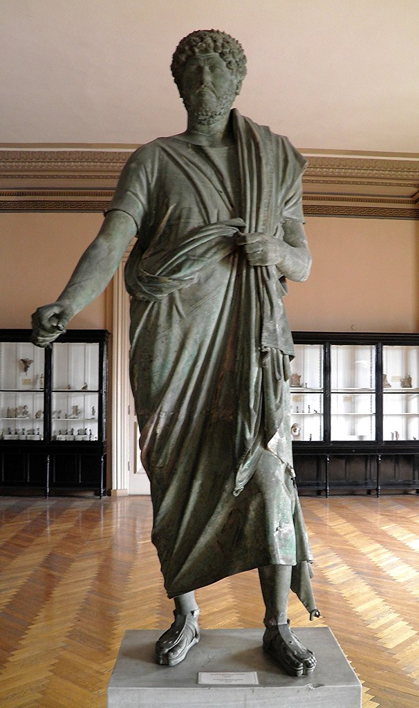 Rare bronze statue, misidentified as Emperor Hadrian weari ...