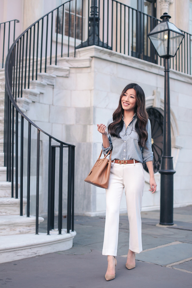 how to style a chambray shirt office fashion