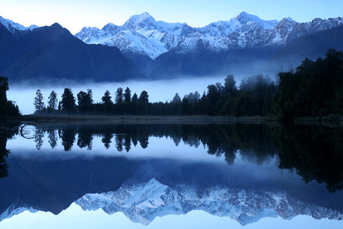 mts tasman and cook in lake matheson | by go wild - NZ outside