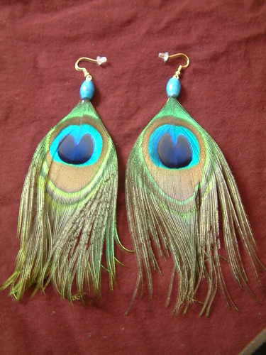 Peacock Feather Earrings | by agwagon2000