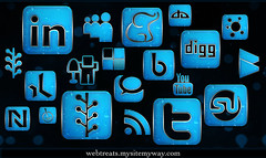 154 Blue Chrome Rain Social Media Icons | by webtreats