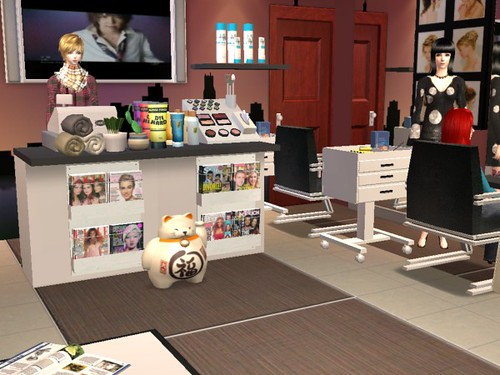 Hair salon copyright of faerhann magic pumpkin studio for Salon moderne sims 4