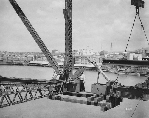 Erection of the lower spans of the Story Bridge, Brisbane, Queensland, 1939 | by State Library of Queensland, Australia