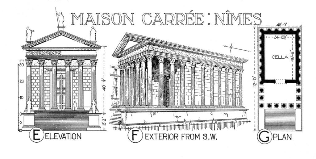 Plan Elevation Maison : Maison carree reconstruction rendering plan and elevati