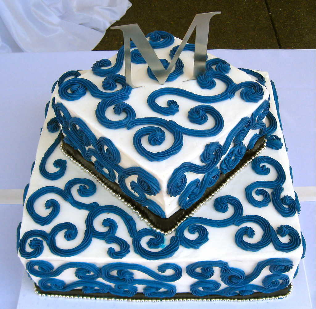 Birthday Cake Designs In Square : Two tier buttercream square cake with blue scrollwork Flickr