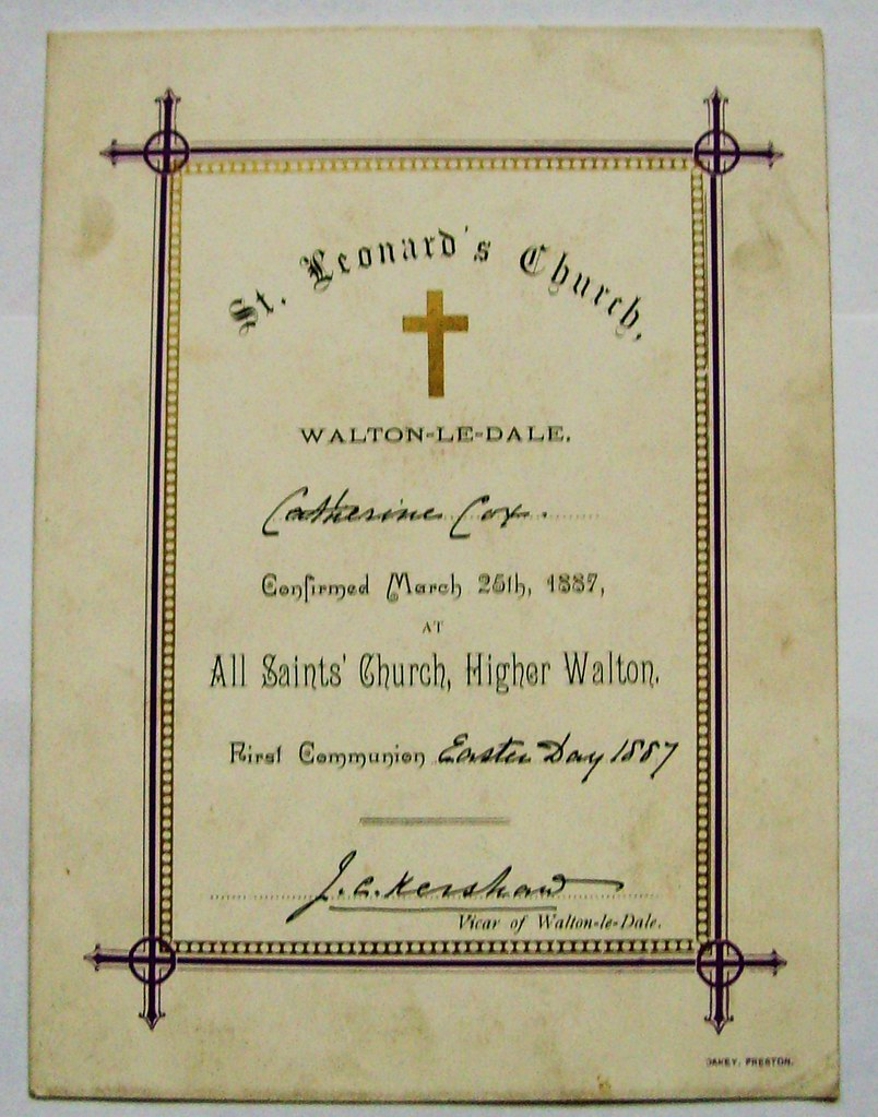 1887 Confirmation Certificate From All Saints Church High Flickr