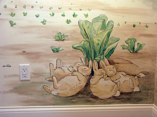 Beatrix potter nursery mural bunnygroup2 twisted for Beatrix potter mural