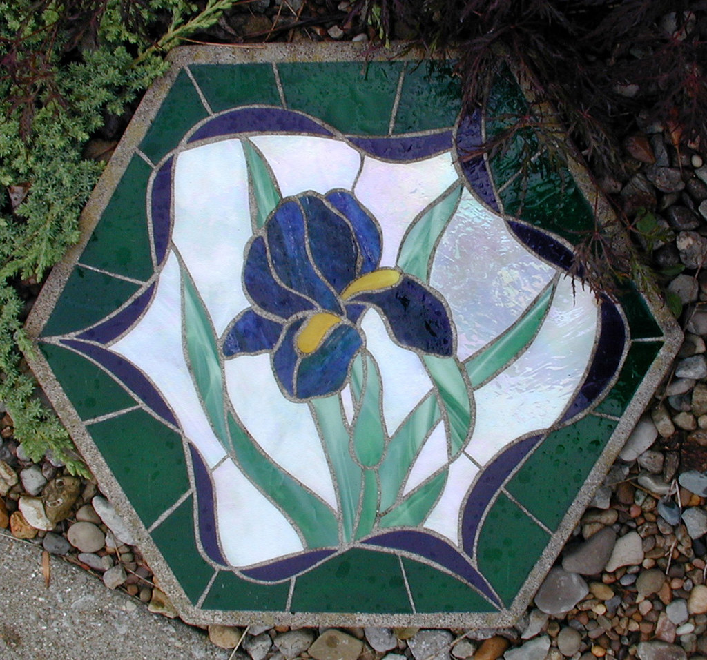15 Year Old Stained Glass Stepping Stone Cast Stone