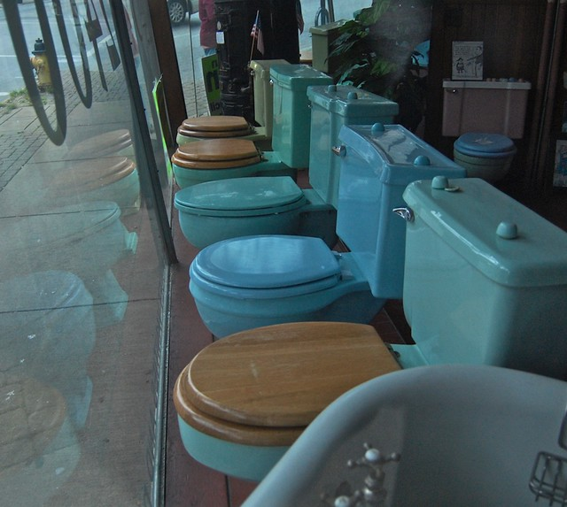 Blue Toilets Plumbing Shop Window Hamilton Ave