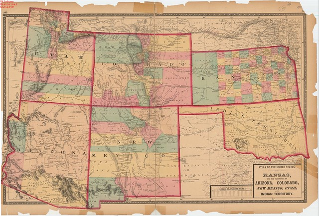 Map Of Kansas And The Territories Of Colorado New Mexico Utah Arizona And Indian Territory ...