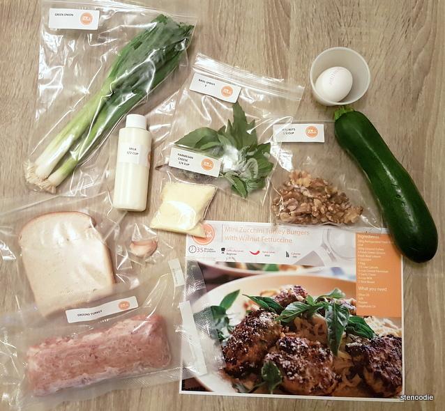 Mini Zucchini Turkey Burgers with Walnut Fettucini ingredients