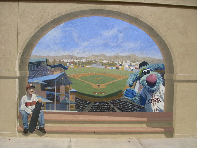 Wall mural baseball stadium trompe l 39 oeil flickr for Baseball field mural