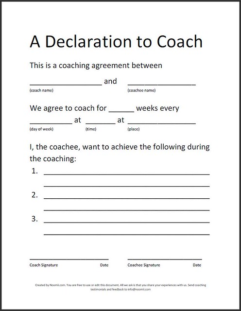 Coaching Agreement A Simple Sample Coaching Agreement