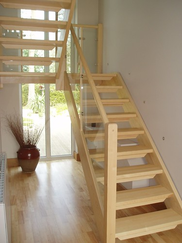 Half Turn Staircase With Glass Infill Panels Mapl