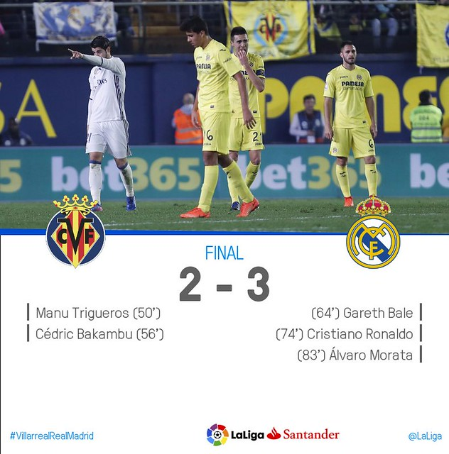 La Liga (Jornada 24): Villarreal 2 - Real Madrid 3